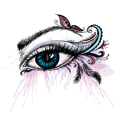 women face stare: Eye hand drawn  with doodle make up, vector illustration Illustration