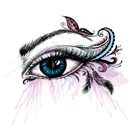gaze: Eye hand drawn  with doodle make up, vector illustration Illustration