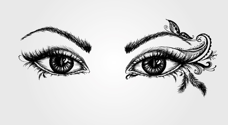 pair of eyes, hand drawing, vector illustration Illustration