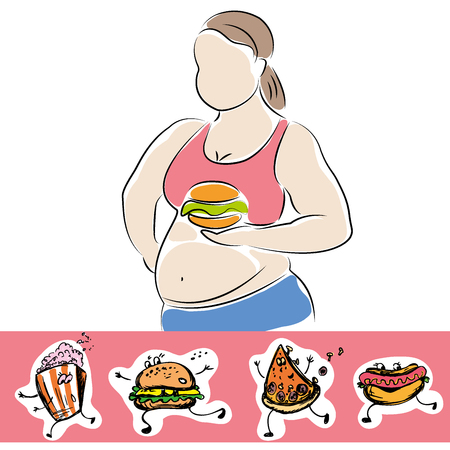 Plump woman with burger and fast food icons - Vector