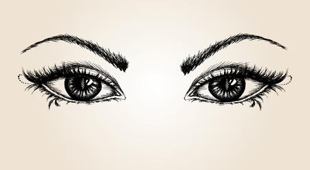 pair of eyes, hand drawing, vector illustration Illustration