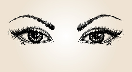 par de ojos, dibujo a mano, ilustración vectorial Ilustración de vector