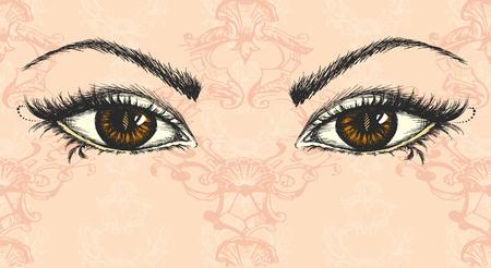 pair of eyes, hand drawing, vector illustration  イラスト・ベクター素材
