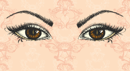 pair of eyes, hand drawing, vector illustration Ilustração