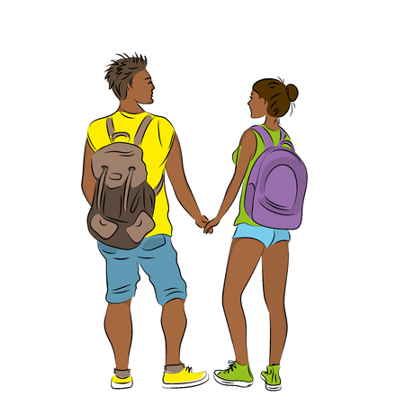 Couple tanned tourists with backpacks. On a white background vector illustration Illustration