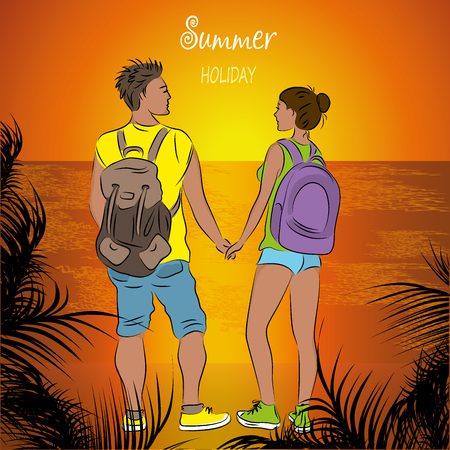 Couple tanned tourists with backpacks at sunset on the beach. vector illustration