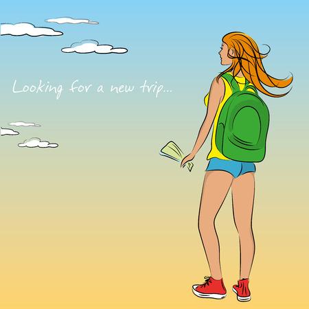 traveler: Woman traveler with a backpack, vector illustration Illustration