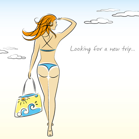 Beautiful sexy girl in bikini with a beach bag in hand, vector illustration Illustration