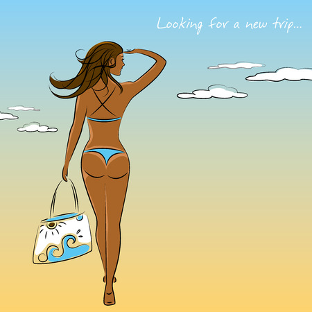 Beautiful sexy,tanned  girl in bikini with a beach bag in hand, vector illustration Illustration
