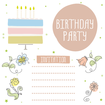Happy birthday, cute invitation card with cake,candles and flowers. Vector illustration