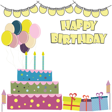 party poppers: Vector happy birthday card. Birthday cake.Place for text. Vector Illustration.Colorful birthday.
