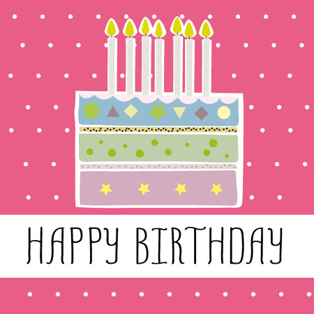 suprise: Happy birthday card, doodle vector illustration