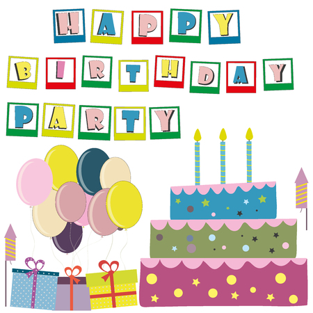 party poppers: Vector happy birthday card. Birthday cake. Vector Illustration.Colorful birthday.