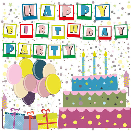poppers: Vector happy birthday card. Birthday cake. Vector Illustration.Colorful birthday.