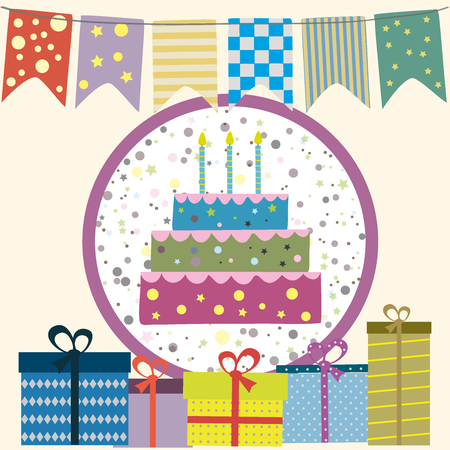 party poppers: Happy birthday picture, flags, cake, gifts. Vector illustration