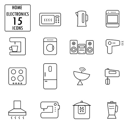 appliances icons: Set of household appliances icons,thin line