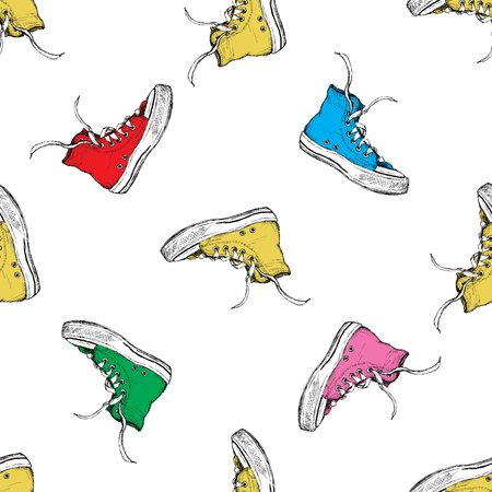 Seamless pattern with vintage sneakers, vector