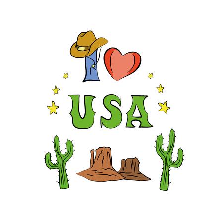 ny: USA doodle  Hand drawn elements. American travel symbols isolated on white background. Vector illustration Illustration