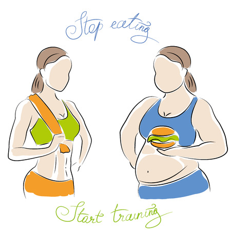 fat and slim woman figure. Thin woman after fitness, fat with a hamburger,vector illustration on white background