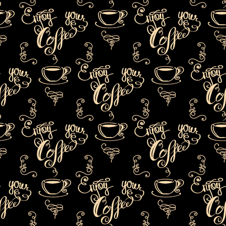Enjoy your coffee seamless pattern, vector illustration
