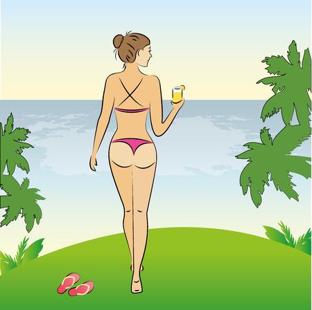 Schönheit, sexy Frau im Bikini, der am Ufer des Strandes, Vektor-Illustration