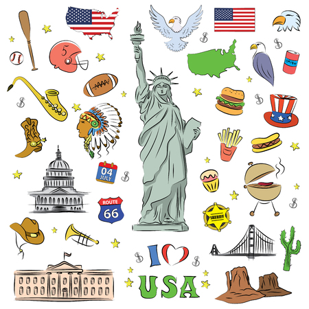 I love USA . Hand drawn doodle elements, objects or icon. American travel symbols. Vector illustration.