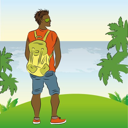 Man standing on the shore of the beach, vector illustration Illustration