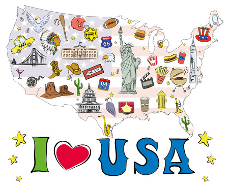 Symbols and icons located on US map, vector illustration