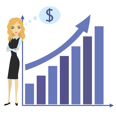 woman pointing up: Business woman and growth chart,vector illustration