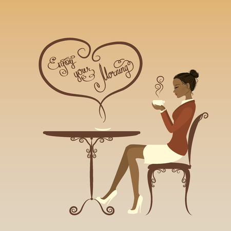 macchiato: Beautiful girl drinking coffee, enjoy your morning, vector illustration
