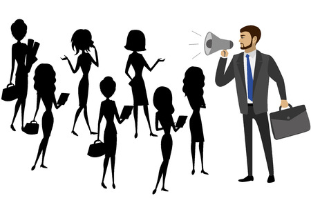 Businessman with a megaphone and silhouettes of women, teamwork, vector illustration
