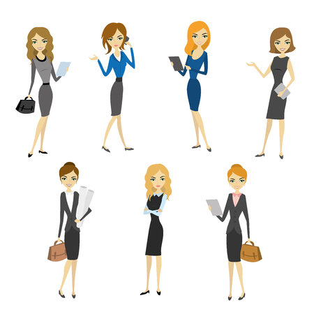 elegant woman: Set Women in office clothes. Beautiful woman in business clothes. Vector illustration
