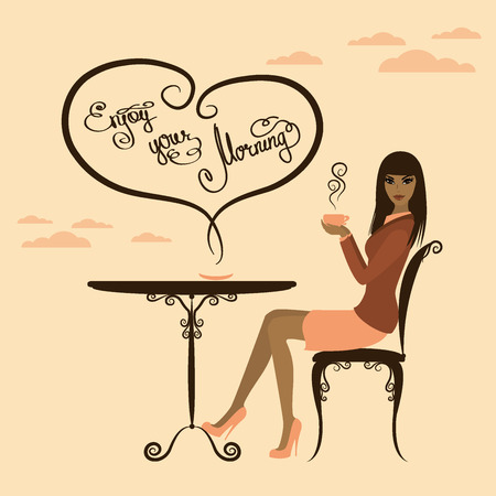 Hermosa niña de café para beber, disfrutar de su mañana, ilustración vectorial
