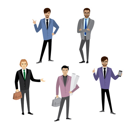 Set of businessman in different poses, isolated on white background, cartoon vector illustration Ilustracja