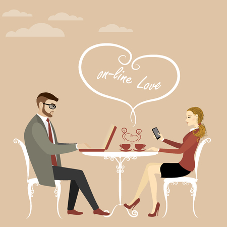 Couple office workers or business people drinking coffee, enjoy your morning, vector illustration Illustration
