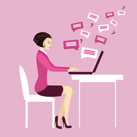 side table: Office worker or business woman. Working On laptop .Communication via computer.Cartoon vector illustration