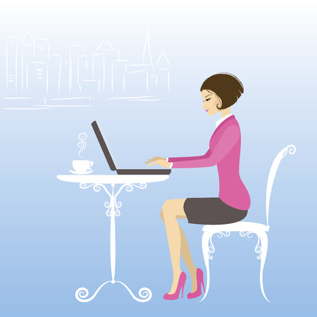 side table: Office worker or business woman. Working On laptop Computer.Cartoon vector illustration Illustration