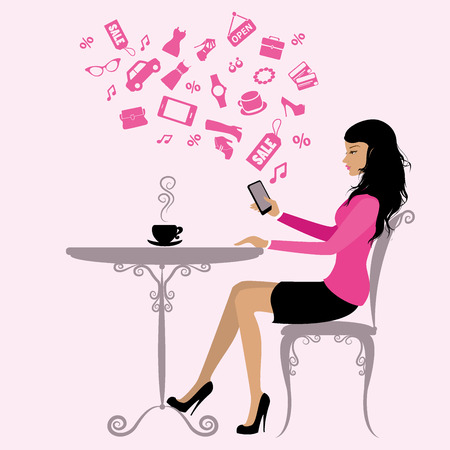 side table: girl is drinking coffee and on the Internet via a smartphone,vector illustration