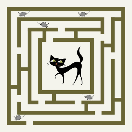 labyrinth with cat and mouses, funny cartoon vector illustration