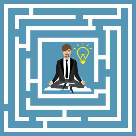 financial position: Flat design vector concept illustration. Businessman in lotus position, business idea