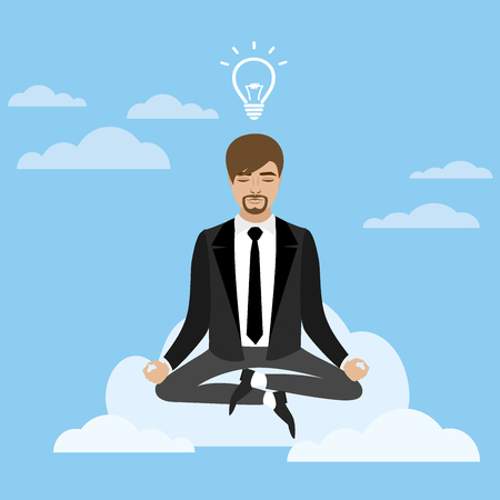 businessman in lotus position sitting on a cloud,business idea concept, vector illustration