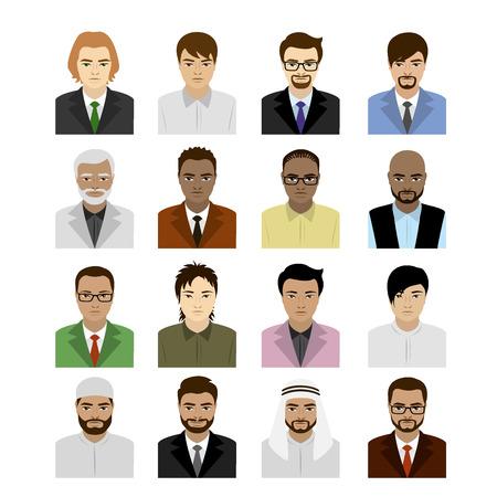 Conjunto rostros masculinos de diferentes razas, ilustración vectorial