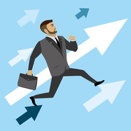 cliff edge: businessman runs on the arrows to success, vector illustration