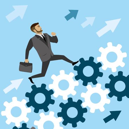 cliff edge: businessman run on  the gears to success, cartoon vector illustration