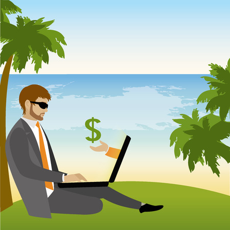 tree works: Freelancer dressed in business suit sitting under a palm tree on the beach and works ,vector illustration