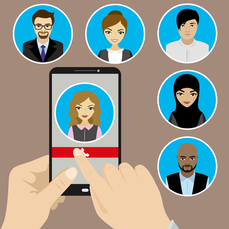 nationalities: Template - hand holding a phone with the incoming call on the screen. Faces of people of different nationalities. Vector Illustration