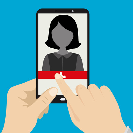 caller: Hand holding smartphone with female silhouette icon on the screen,vector illustration