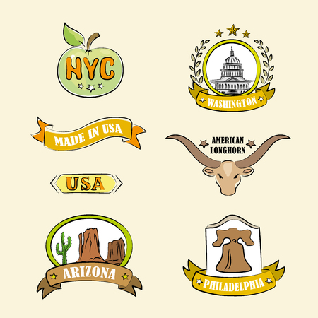 places: label of various US regions and places, vector illustration