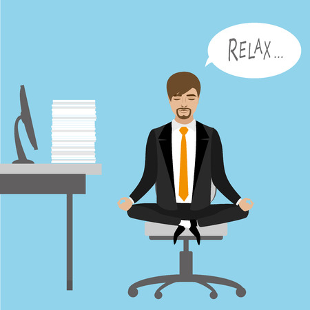 lotus position: Office worker relaxes and meditates in the lotus position on the job, vector illustration