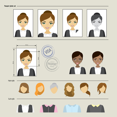 pic  picture: Set template face, business suits, clothing, hairstyles. Vector illustration